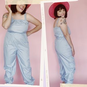 Vtg 80s Baby Blue Vinyl Waterproof Jumpsuit S M